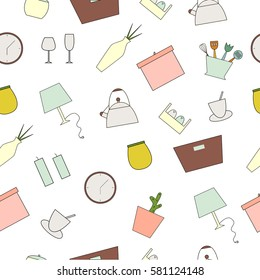 Houseware seamless pattern. Homewares line icons on a white background. Home design vector elements.