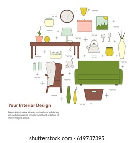 Housewares vector elements. Home appliances line icon set. Interior design round concept with simple text.