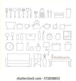 Housewares vector elements. Home wares line icon set.