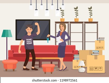 Housewarming in New Apartment. Real Estate Agency Concept. Room Interior. Contract for Rental of Real Estate and Key transfer. Selling Home and New Property. Vector Flat Illustration.