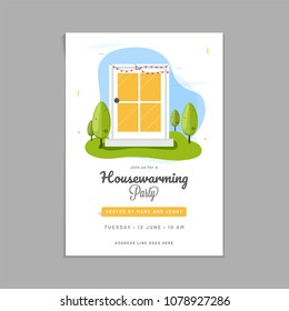 Housewarming party invitation card design.