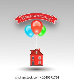 Housewarming vector image wit house flying home and balloons
