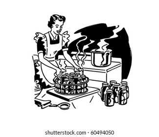 Housewife Canning Fruit - Retro Clip Art