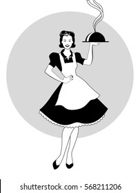 Housewife carrying a tray with dinner. Retro style. Vector Illustration