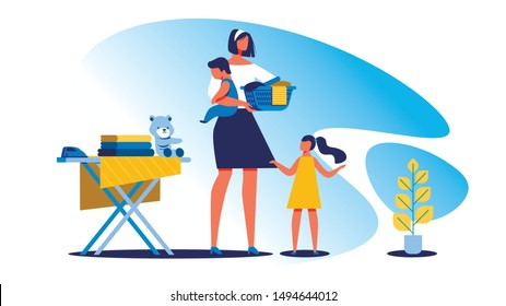 Housewife with Children Clean House. Vector Illustration. Training for Housewives. Woman with Children near Ironing Board. Fold Clothes. Housewife Communicates with Children On on White Background.