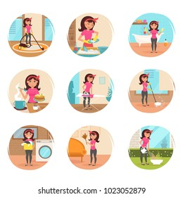 Housewife. Cleaning, cooking, washing, Ironing, watering flowers. Homework. Cleaning lady. Vector isolated illustration. Cartoon characters. Set. Woman work