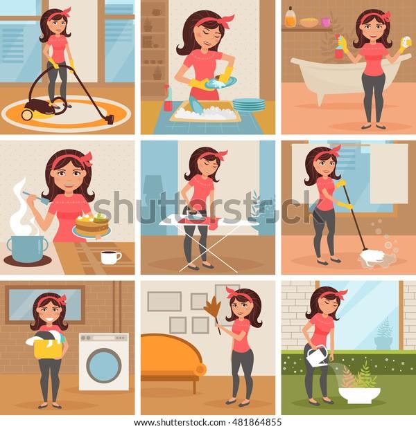 Vector De Stock Libre De Regalias Sobre Ama De Casa Limpieza