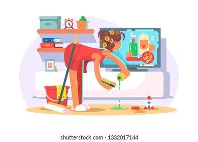 Housewife cleaning house vector illustration. Young woman with curlers washing floor and looking ads of new detergents on TV flat style concept. Home interior