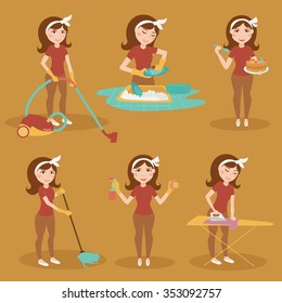 Housewife. Cleaning lady. Vector isolated illustration. Cartoon characters.
