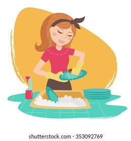 Housewife. Cleaning lady. Vector isolated illustration. Cartoon character