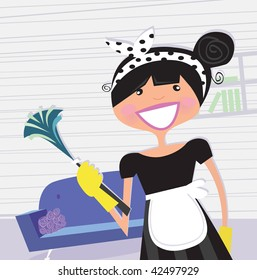 Housewife â?? french maid. Cleaning house service or busy mom in household? Vector cartoon illustration.