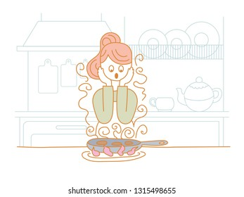 Housewife frying cutlets in a pan. Burned. In the background, kitchen furniture and items. Vector