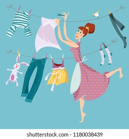 Housewife hangs up clean clothes on a line after washing. Laundry. Vector illustration