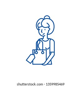 Housewife line icon concept. Housewife flat  vector symbol, sign, outline illustration.