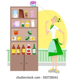 Housewife looking at a stuffed food shelf in a pantry (Fifties style)