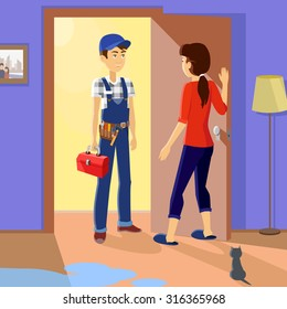 Housewife meets master repairman. Service uniform, occupation professional, repair mechanic work, technician fixing, tool and workman, toolbox and handyman, plumber or serviceman illustration