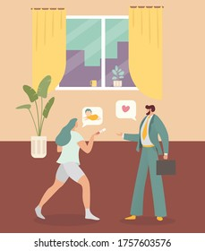 Housewife mother character female pregnancy wife talk husband baby flat vector illustration. Young businessman become father, concept interior room people reproduce, lovely magic news.