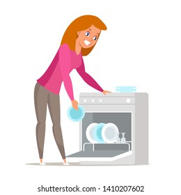Housewife near dishwasher flat vector illustration. Young woman, wife standing near dishwashing machine isolated character. Cartoon girl washing plates in domestic appliance, housekeeping equipment