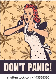 Housewife in panic emotion on cannabis leafs background vector pic