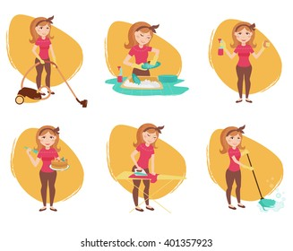 Housewife set. Cleaning lady. Vector isolated illustration. Cartoon characters.