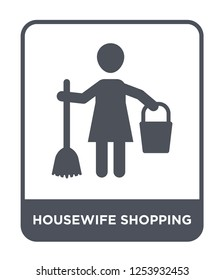 housewife shopping icon vector on white background, housewife shopping trendy filled icons from Humans collection, housewife shopping simple element illustration