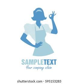 Housewife silhouette wearing kitchen apron saying OK. Logo Retro style.