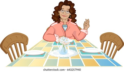 Housewife sitting at dinner table. Kitchen scene.