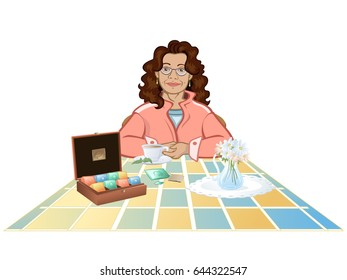Housewife sitting at table with a tea cup. Kitchen Scene. Tea set.