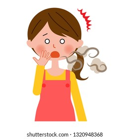 A housewife suffering from halitosis