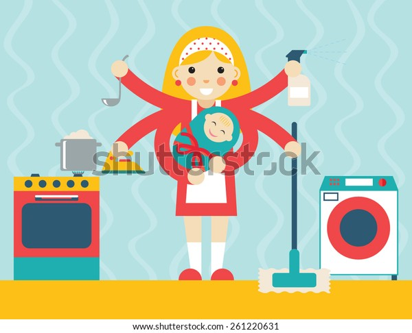 Housewife symbol with child and accessories icons on stylish background flat design concept template vector illustration