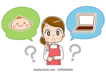 A housewife thinks about a child and a personal computer