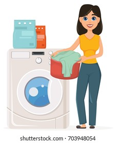 Housewife washes clothes in the washing machine. Pretty woman doing domestic work. Cartoon character. Vector illustration