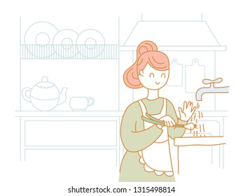 Housewife washes green onions under a tap with water. In the background, kitchen furniture and items. Vector
