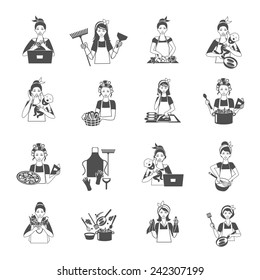 Housewife woman domestic life black icons set isolated vector illustration