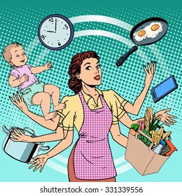 Housewife work time family success woman pop art retro style. A woman plans the time and manages to do everything around the house. Child care, work via smartphone, cooking, household chores.