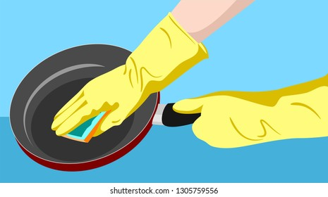 Housewife's hands in rubber protective gloves sponge the pan