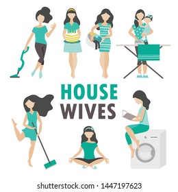 Housewives in different cases. Washing, cleaning, Ironing, etc. Set of seven pictures. Flat vector on white background.