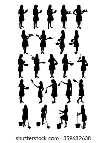 Housewives and Maids vector silhouettes