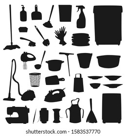 Housework and household icons isolated silhouettes. Vector home washing and cleaning tools, sewing machine and kitchen utensils. Mop and vacuum cleaner, apron and gloves, plates and threads, broom