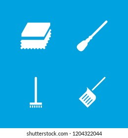 Housework icon. collection of 4 housework filled icons such as dustpan, sponge, broom. editable housework icons for web and mobile.