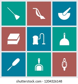 Housework icon. collection of 9 housework filled icons such as broom, dustpan, sponge, maid, bucket, dust brush. editable housework icons for web and mobile.