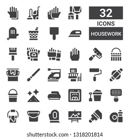 housework icon set. Collection of 32 filled housework icons included Washing dishes, Brush, Painting, Gloves, Bucket, Paint bucket, Dishwasher, Dust, Roller, Paint roller, Machine