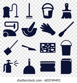 Housework icons set. set of 16 housework filled icons such as gloves, vacuum cleaner, dustpan, bucket, broom, mop, sponge, washing machine, brush