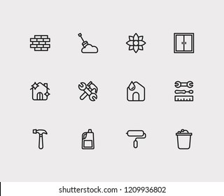 Housework icons set. Bucket and housework icons with instrument, home and hammer. Set of fresh for web app logo UI design.