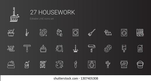 housework icons set. Collection of housework with brush, washing machine, sponge, detergent, iron, paint roller, brushes, dishwashing, laundry. Editable and scalable housework icons.