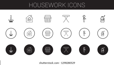 housework icons set. Collection of housework with brushes, housekeeping, laundry, iron table, scoop, detergent. Editable and scalable housework icons.