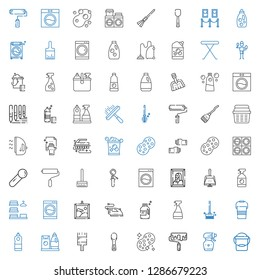 housework icons set. Collection of housework with bucket, spray bottle, roller, sponge, scoop, paint brush, detergent, brushes, window cleaner. Editable and scalable housework icons.
