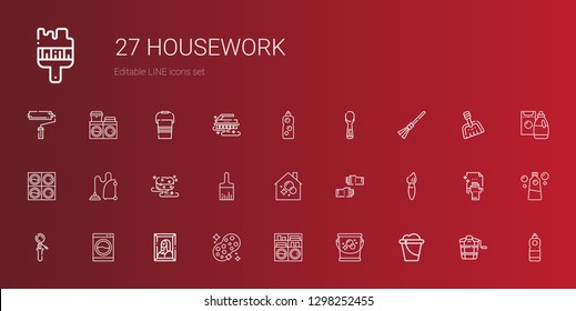 housework icons set. Collection of housework with bucket, washing machine, sponge, painting, scoop, brush, glove, housekeeping, paint brush. Editable and scalable housework icons.