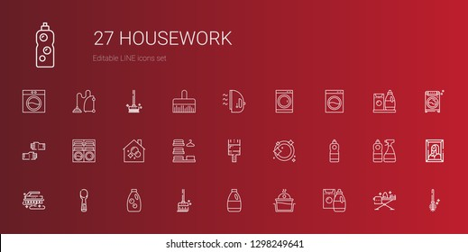 housework icons set. Collection of housework with detergent, laundry, broom, scoop, brush, dishwashing, paint brush, housekeeping, washing machine. Editable and scalable housework icons.