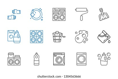 housework icons set. Collection of housework with detergent, washing machine, bucket, sponge, dustpan, paint roller, dishwashing, glove. Editable and scalable housework icons.